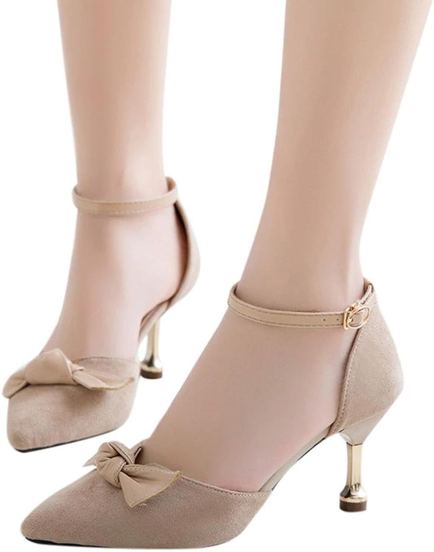 Fheaven Women Mary Jane Heel Pumps - Buckled Strappy Low Block Heel - Cute Bowknot Party Heel Beige