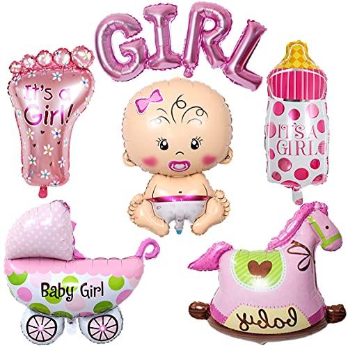 Liitata Gender Reveal Party Decoración Rosa gigante de bienvenida bebé forma de botella de chupito pies niña alfabeto balancín caballo cochecito globos para anuncio de embarazo Baby Shower