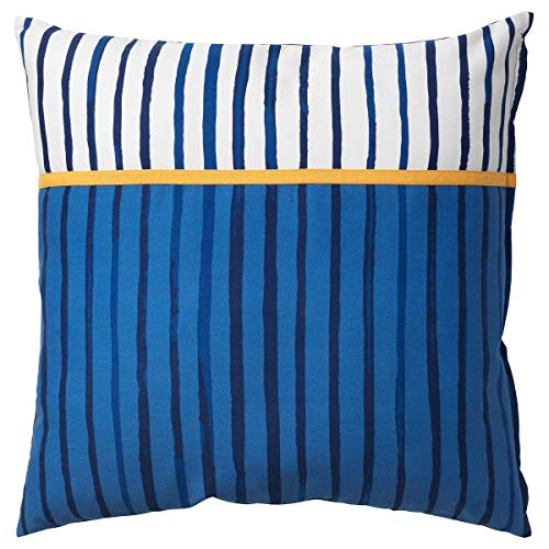 SÅNGLÄRKA kudde 50 x 50 cm rand/blå orange