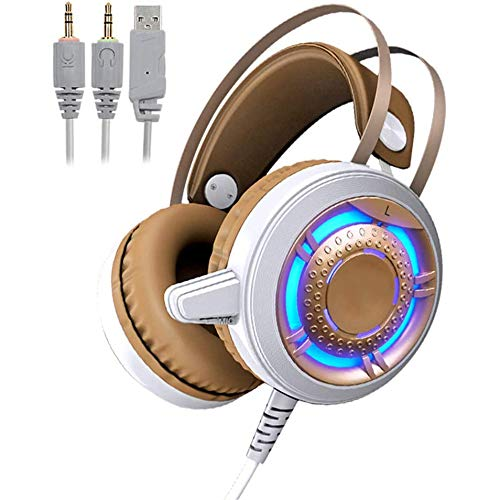 TAOXUE Auriculares Gaming PS4 con Microfono Cascos Estéreo 3.5Mm Jack, Luz LED, Volumen Control, Compatible con PS4 PC Ordenador Y Móvil