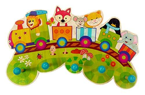 Hess Holzspielzeug 30296 - Garderobe aus Holz, Serie Eisenbahn, mit 5 Haken, für Kinder, ca. 37 x 23 x 6,5 cm groß, handgefertigt, als Blickfang in jedem Kinderzimmer und Flur