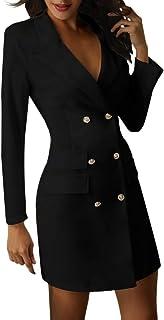 Minetom Mujer Blazer Manga Larga Chaqueta del Traje Mini Vestido Oficina Negocios Parte OL Cuello en V Botón Chaqueta Abrigo
