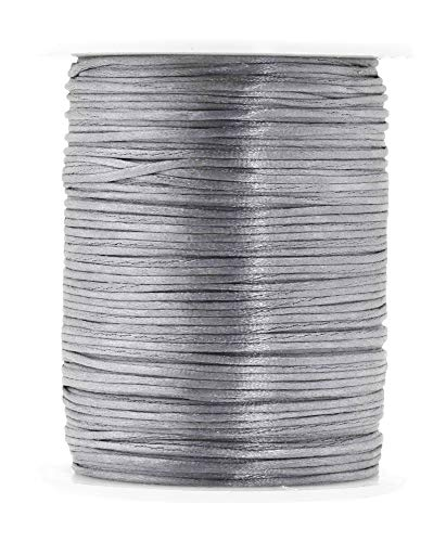 Mandala Crafts Satin Rattail Cord String from Nylon for Chinese Knot, Macramé, Trim, Jewelry Making (Silver, 1mm)