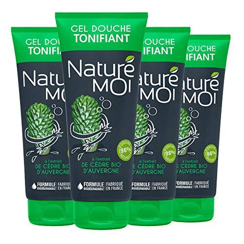 Naturé Moi – Gel Douche Tonifiant à L'Extrait de Cèdre Bio d'Auvergne pour Homme – Hydrate et Nourrit Les Peaux Normales et Sèches – Lot de 4 – 200Ml