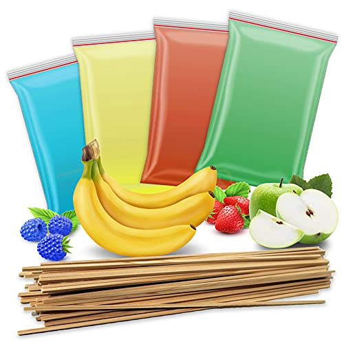 4x 200g Zuckerwatte Zucker + 50 Zuckerwattestäbe | Apfel - Erdbeere - Banane - blaue Himbeere | 4 Sorten Aromazucker mit Geschmack für bunte Zuckerwatte Zuckerwattemaschine | 800 Gramm gesamt