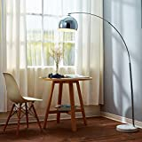Versanora VN-L00010 Arquer Modern Arc Floor Lamp 67 inch Tall Standing Hanging Light with Chrome Finished Shade and White Marble Base for Living Room Reading Bedroom Office
