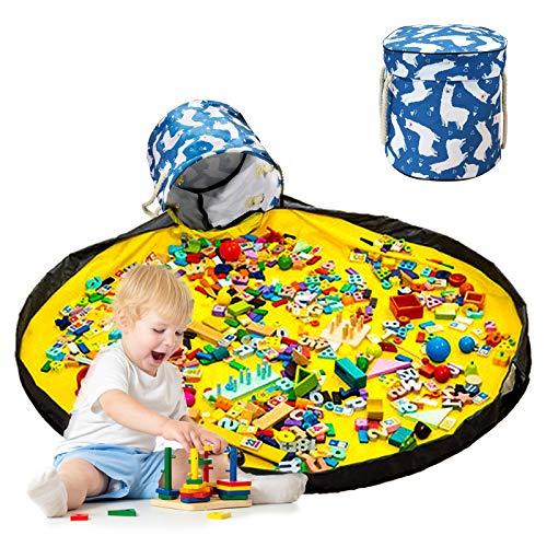 Kinder Aufräumsack Spieldecke, KNMY Drawstring Spielzeug Aufbewahrungsbox mit Deckel Tragegriff, Tragbare Großes Spielzeugsack für Kinderzimmer Outdoor Picknick