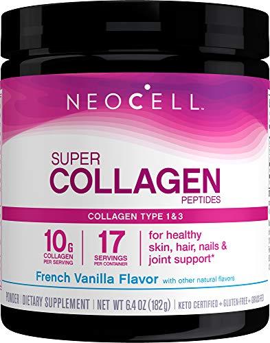 NeoCell Super colágeno en polvo, vainilla francesa 7 oz, sin OMG, alimentados con pasto, paleo amistoso, péptidos de colágeno tipos 1 y 3 para cabello, piel, uñas y articulaciones, añadir a café y batidos, 26 porciones