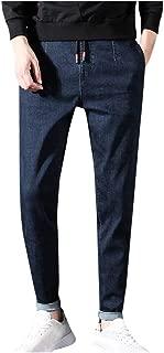 Men's Casual Solid Straight Denim Slim Jeans Drawstring Regular Fit Pant