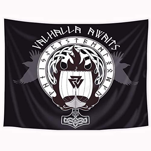 Riyidecor - Tapiz de Bandera nórdica de 152 x 203 cm, diseño de Barco de Guerra de los Vikingos, Barco en Fuego y Carreras, Color Negro, para Colgar en la Pared