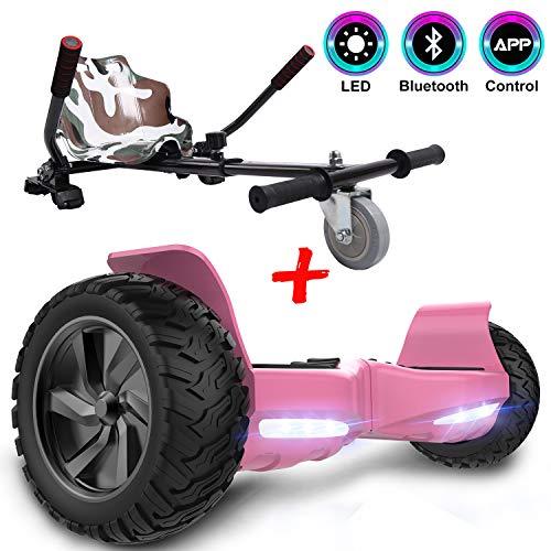 GEEKME Hoverboard scooter elettrico autoalimentato da 8,5 '' per tutti i terreni con potente motore Bluetooth e APP integrato + Hoverkart per overboard