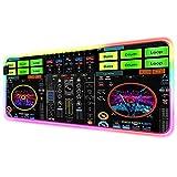 Tocadiscos de música para DJ,Alfombrilla de ratón Negra para Juegos,Alfombrilla de ratón con Base de Goma Antideslizante con retroiluminación LED Colorida RGB para Jugadores de 800x400 MM