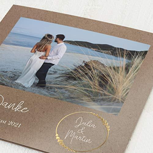 sendmoments Hochzeit Dankeskarten, Erdgebunden, 5er Klappkarten-Set, personalisiert mit Wunschfoto und Goldfolien-Veredelung, optional mit passenden Design-Umschlägen