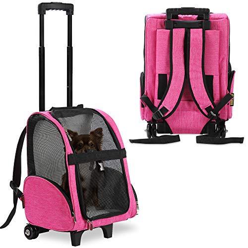 KOPEKS Deluxe Backpack Pet Travel Carrier with Double Wheels - Black - Approved by Most Airlines