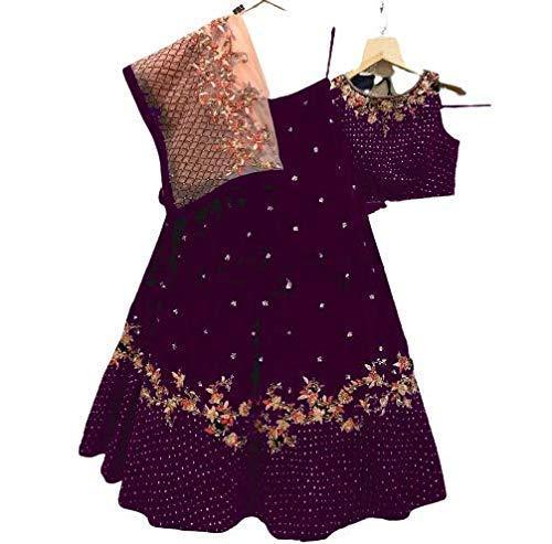 VintFlea Lehenga Choli - Vestido de terciopelo para mujer
