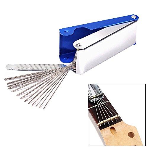 ammoon Guitar Nut-Brücke Datei Set Luthiers Tool Box 13 Größen von Dateien 1 Flat File für Gitarre Banjo Mandoline Bass String Groove Slot
