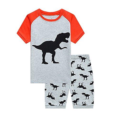 2-7T - Juego de pijama de dinosaurio y pantalones cortos