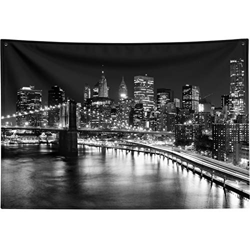 """New York City Tapestry Black and White,Brooklyn Bridge Tapestry Wall Hanging for Bedroom Living Room NYC New York Skyline Wall Tapestry Night View Manhattan Skyscrapers Tapestry Backdrop Small 60""""x40"""""""