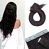 Tape in Hair Extensions Human Hair 18 Inch Long #1B Natural Black 20pcs 30g Thin Seamless Skin Weft Glue in Human Hairpieces Straight Hair with Double Side Tape