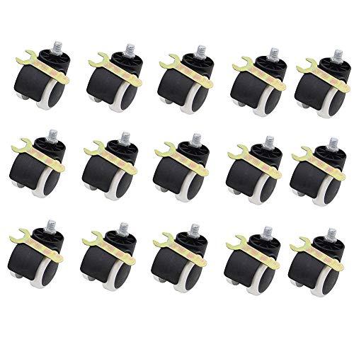 GINVF Slipstick 2 Pouces Sol Protection Chaise de Bureau en Caoutchouc roulettes Standard Tige Taille Paquet de 15 - Noir/Blanc (Color : Screws, Size