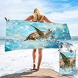 COWDIY Beach Towels, Sea Turtle Printed Quick Dry Towel Blanket,...