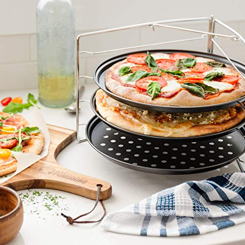 Chef Pomodoro Pizza Baking Set with 3 Pizza Pans and Pizza Rack, Non-stick Perforated Pizza Trays, for Oven