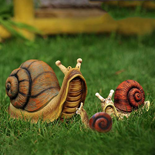 Calyvina 3pc Cute Snail Statue Garden Statue Resin Snail Figurine Outdoor Statue for Patio Lawn Yard Decorations,Brown