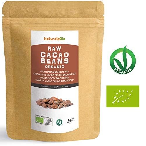 Fèves de Cacao Cru Bio 1Kg | Organic Raw Cacao Beans | 100 % naturel et pur | Produit au Pérou par la Plante Theobroma Cacao | Super-aliment riche en antioxydants, minéraux et vitamines | NATURALEBIO