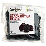 Sunfood Superfoods Organic Raw Olives - Herbed & Pitted Peruvian Black Botija Olives - Hand Selected, Sea-Salt Cured, Low Temperature Dried - Great Natural Snack or Vegetarian Meat Substitute - 8 oz