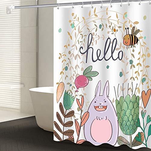 Peng Sounder-hm Duschvorhänge Beständig Mehltau Duschvorhang Wasserdicht Badezimmer-Vorhang Liner Cartoon Hase Gestaltet Badvorhang für Badezimmer (Farbe : Weiß, Größe : 180x200cm)