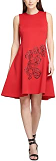 DKNY Womens Red Embellished Sleeveless Above The Knee Fit + Flare Party Dress US Size: 8