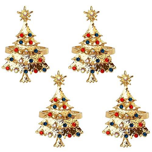 4 Stück Serviettenringe Gold Weihnachten Serviettenringe Weihnachtsbaum Form Metal Serviettenhalter für Hochzeit Geburtstag Weihnachten Taufe Tisch Dekoration Serviettenringe Servietten Halter