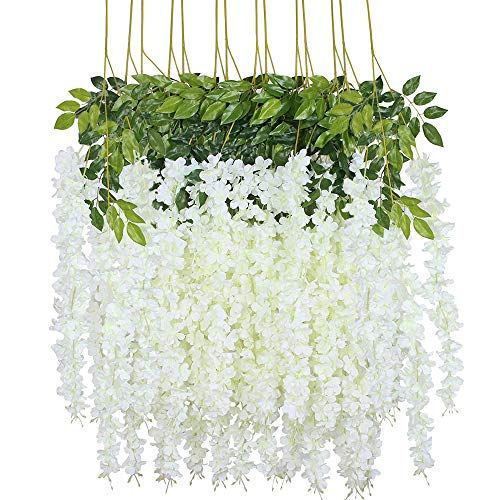 Artificial Wisteria, 14 Stems Simulation Wisteria Flower Fake Wisteria Vine, Hanging Garland Silk Flowers for Outdoor decor, Ceremony, Wedding, Party, Home Garden Decoration