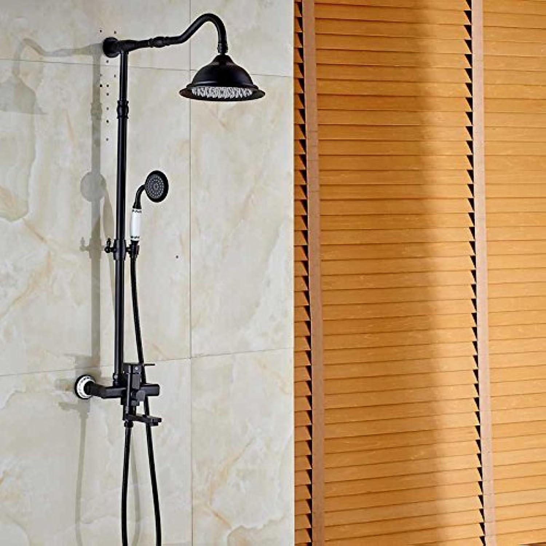 Retro Stil Badezimmer Dusche Wasserhahn & Whirlpool Auswurfkrümmer drehen & Handdusche l eingerieben Bronze mischbatterie einzigen Griff Wandhalterung