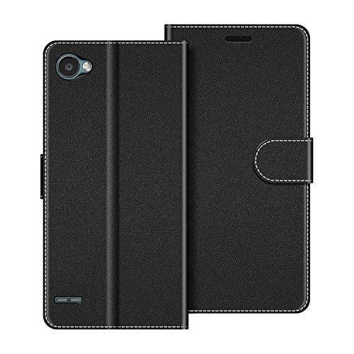 COODIO Handyhülle für LG Q6 Handy Hülle, LG Q6 Hülle Leder Handytasche für LG Q6 Klapphülle Tasche, Schwarz