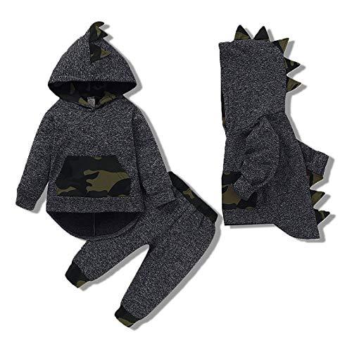Kucnuzki 3T Boys Clothes Toddler Boy Clothes Infant Halloween Camo Outfits Long Sleeve Dinosaur Hoodies Sweatshirt Pants Set Winter Outfit 3T-4T Boys Clothing