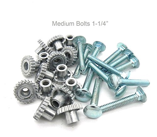 DryFur Pet Carrier Metal Fasteners Nuts Bolts (1-1/4' Medium Bolts, 20 Pack)