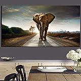 KWzEQ Elefante Africano Paisaje Animal Pintura al óleo Mural Imagen Sala de Estar decoración del hogar Pintura Mural,Pintura sin Marco,30x60cm