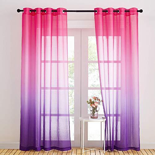 NICETOWN 2 Stücke Halbtransparente Voile Gardinen - Dekoschals Vorhänge Farbverlauf Pink & Lila Voile Vorhang mit Ösen Kinderzimmer Gardinen Mädchen, H 245 x B 140 cm, Pink+Lila