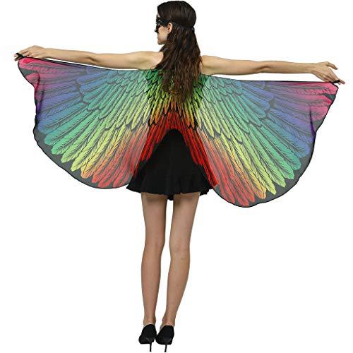 AmyGline Damen Schmetterlingsflügel,Frauen Schmetterling Flügel Schal Umhang Chiffon Nymph Pixie Poncho Schals Karneval Kostüm für Tanzen Party Cosplay Fasching Butterfly Wings(170x 72cm)
