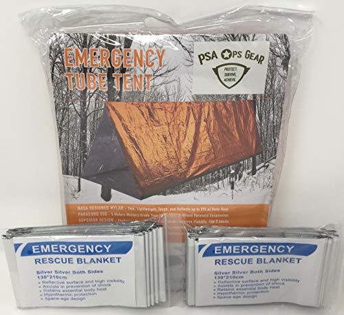 Notfall-Zelt + 2 Rettungsdecken (Mylar-Röhre Zelt zum Überleben + Paracord + 2 Decken)