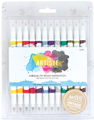 Artiste DOA 851101 Artiste Dual Tip Brush Markers, Vintage, 12 Stück