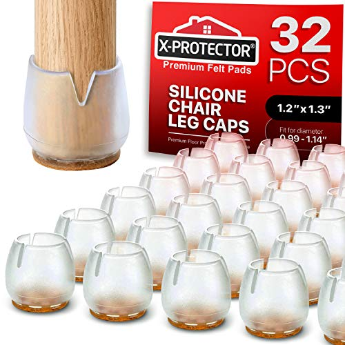 """Chair Leg Caps by X-PROTECTOR - Silicone Floor Protectors for Chairs 1 ¾"""" - Best Silicone Furniture Leg Caps - Premium Chair Protectors for Hardwood Floors – Protect and Glide SMOOTHLY (Round)"""