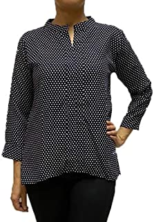 Veronica Long Sleeve Ladies Blouse Black polka dots