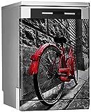 MEGADECOR Vinilo Decorativo para Lavavajillas, Medidas Estandar 67 cm x 76 cm, Bicicleta Roja...