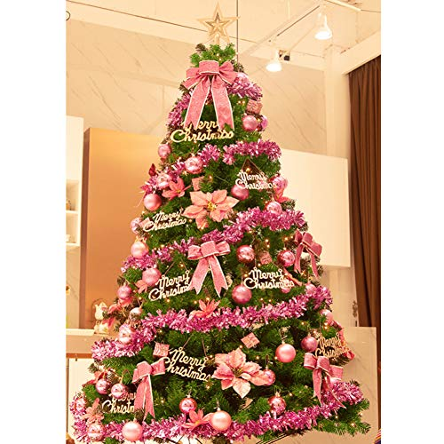 HM&DX Artificial Christmas Tree with Led Lights, Prelit Christmas Tree with Detachable Ornaments Xmas Tree Easy Assembly with Metal Stand-Pink 7ft