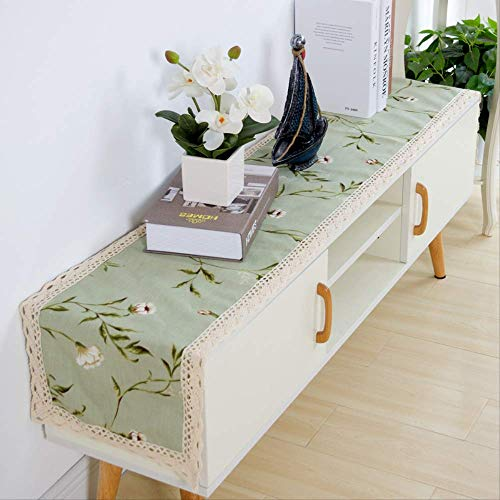 CHANGLEQIN Tv kabinet tafelkleden kast schoenen stofkap doek doek woonkamer huis 50 * 280cm Little green flower