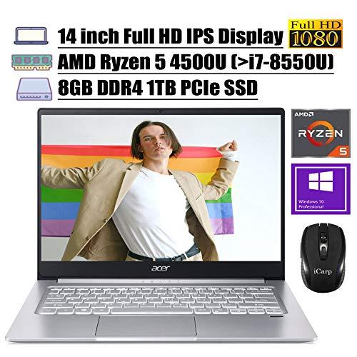 "2020 Newest Acer Swift 3 14 Laptop 14"" Full HD IPS Display AMD Hexa-Core Ryzen 5 4500U (Beats i7-8550U) 8GB DDR4 1TB PCIe SSD Backlit Fingerprint WiFi HDMI Win 10 Pro + iCarp Wireless Mouse"