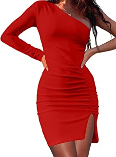 XXTAXN Women's Sexy Bodycon One Shoulder Long Sleeve Ruched Wrap Split Dress