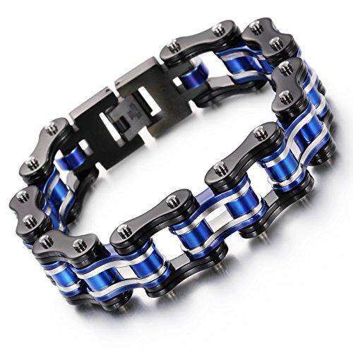 NELSON KENT Herren-Edelstahl-Farbzyklen Kettenarmband Schwarz Blau